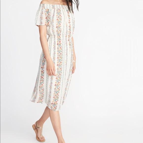 0ca56ae577 Old Navy Dresses | Offtheshoulder Waistdefined Midi Dress | Poshmark